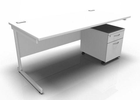 Kessel Rectangular Desk & Mobile Pedestal - Cantilever Frame In White