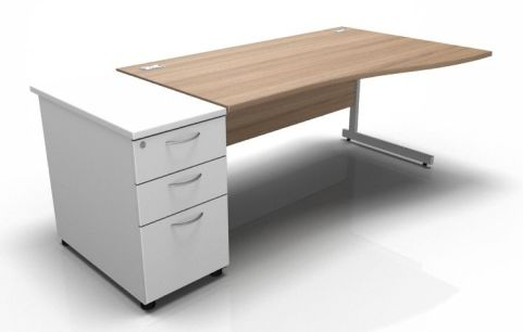 Kessel Right Hand Cantilever Wave Desk With Desk High Pedestal In Birch & White