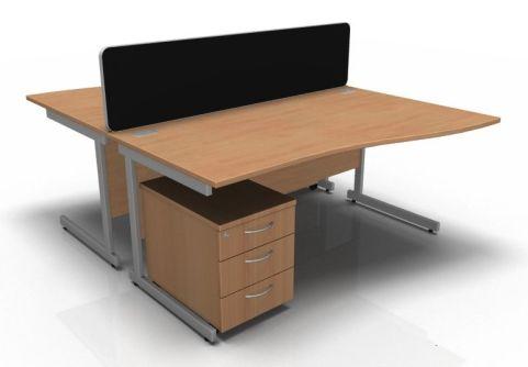 Kessel 2 Way Wave Desk & Mobile Pedestal Cluster - Cantilever Frame In Beech