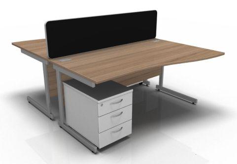 Kessel 2 Way Wave Desk & Mobile Pedestal Cluster - Cantilever Frame In Birch & White
