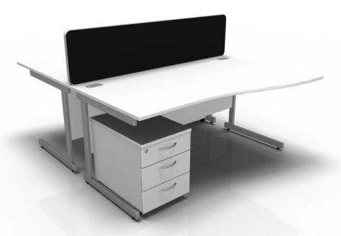 Kessel 2 Way Wave Desk & Mobile Pedestal Cluster - Cantilever Frame In White