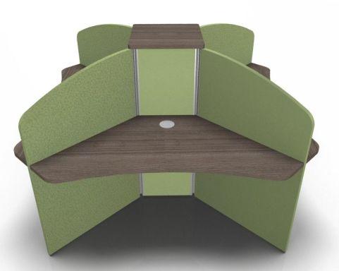 Centrix Four Person Call Centre Desk In Walnut With Green Screens