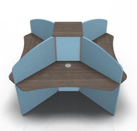Centrix Four Person Call Centre Desk Walnut With Blue Screens