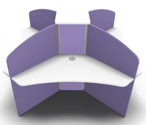 Centrix Four Person Call Centre Desk With White Tops And Purple Screens