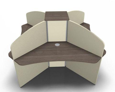 Centrix Four Person Centre Desk In Walnut With Cream Screens