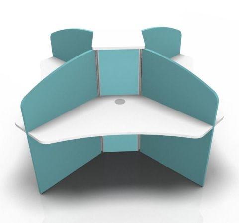 Centrix Four Pesron Desk In White With Light Blue Screens