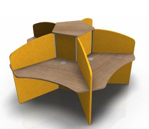 Centrix Five Person Call Centre Desk With Portofina Tops And Orange Screens