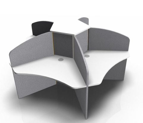 Centrix Five Person Call Centtre Desk With White Tops And Grey Screens