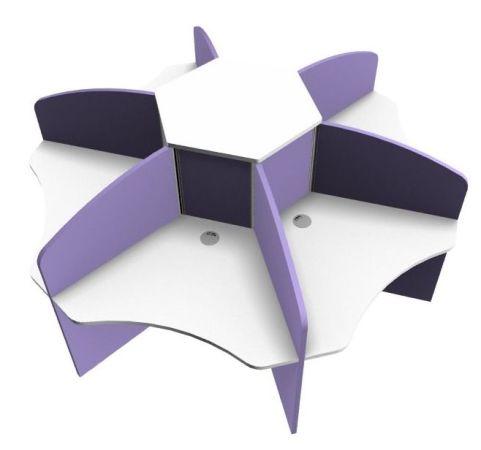 Centrix Six Person Call Centre Desk With White Tops And Purple Screens