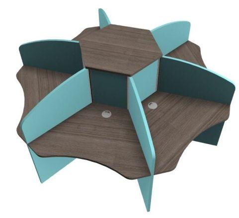 Centrix Six Person Call Cenre Desk With Walnut Tops And Light Blue Screens