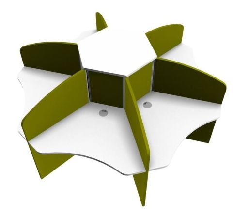 Centrix Six Person Call Centre Desk With White Tops And Green Screens