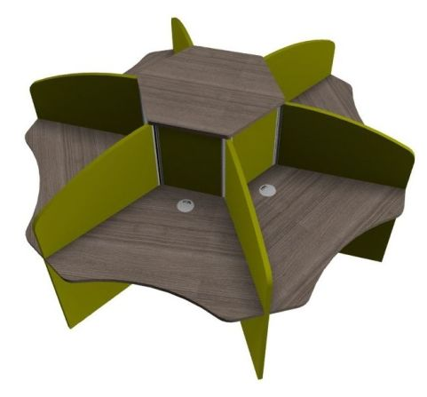 Centrix Six Person Call Ncentre Desk With Walnut Tops And Green Screens