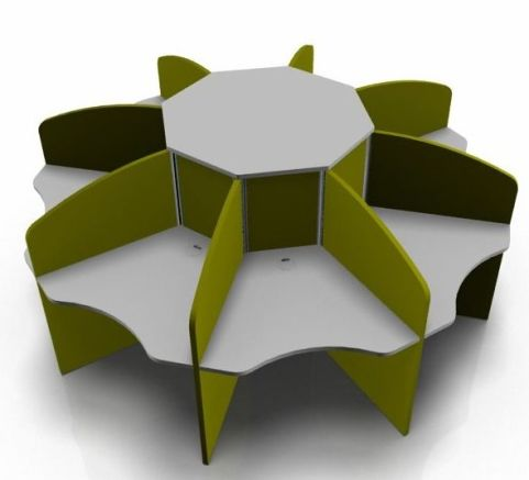 Centrix Eight Person Call Centre Desk With Grey Tops And Green Screens