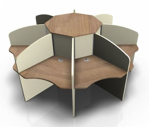 Centrix Eight Person Call Centre Desks With Charry Tops And Cream Screen