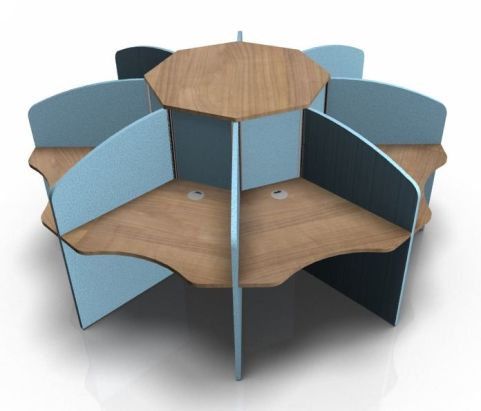 Centrix Eight Person Call Centre Desk With Cherry Tops And Light Blue Screens