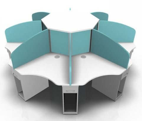 Centrix Eight Person Call Centre Desk With Blue Screens