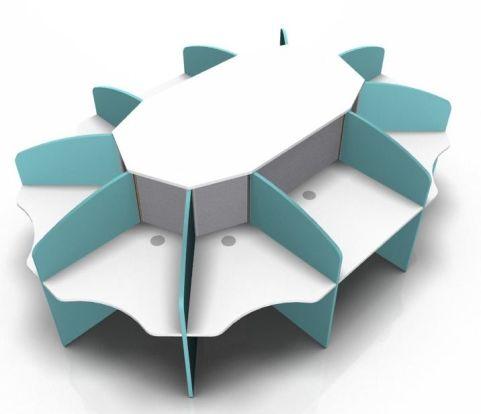 Centrix Ten Petrson Call Centre Desk With White Tops And Light Blue Screens
