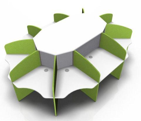 Centrix Ten Person Call Centre Desk With White Top And Green Jscreens