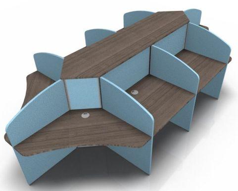 Centrix Eight Person Call Centgre Desk V4 Wqalnut Tops With Light Blue Screens