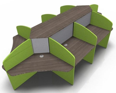 Centrix Eight Person Call Centre Desk V4 With Walnut Tops And Green & Grey Screens