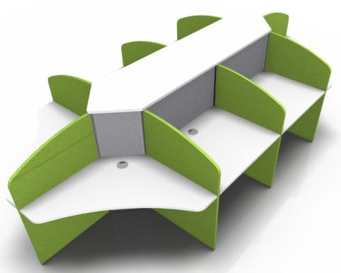 Centrix Eight Person Call Centre Desk With White Tosp And Green Screens