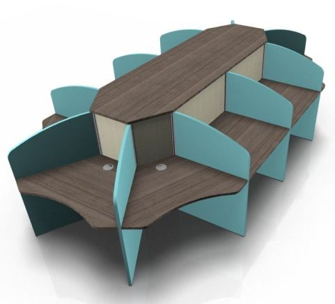 Centrix Ten Person Call Centtre Desk With Walnut Tops And Lighyt Blue Screens V2