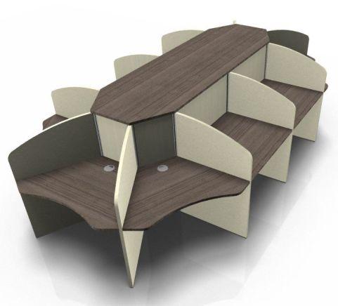 Centrix Ten Person Call Centre Desk With Walnut Tops And Cream Screens V2