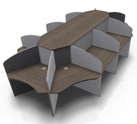 Centrix Ten Person Call Centre Desk With Walnut Tops And Grey Screens V2