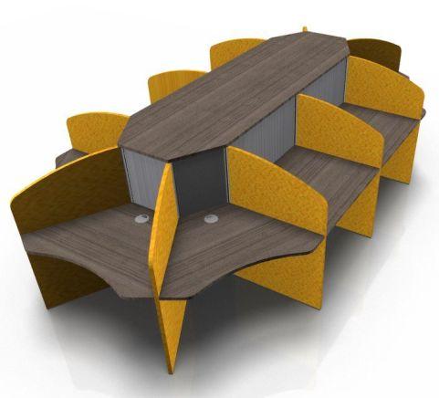 Centrix Tens Person Call Centre Desk With Walnut Tops And Orange Screens