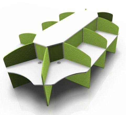 Centrix Ten Person Call Centre Desk With White Tops And Llime Green Screens V2