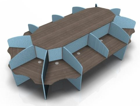 Centrix Twelve Person Call Centre Desk With Walnut Tops And Blue Screens