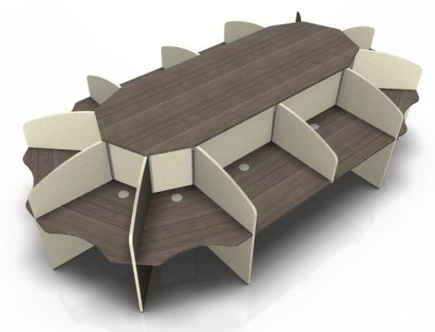 Centrix Twelve Person Call Centre Desk With Walnut Tops And Cream Screens