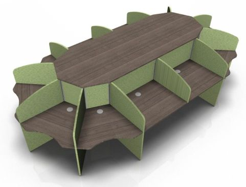 Centrix Twelve Person Call Centre Desk With Walnut Tops And Green Screens