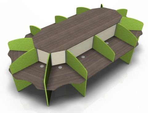 Centrix Twelve Person Call Centre Desk With Green And Cream Screens And Walnut Tops