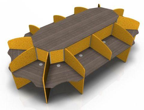 Centrix Twelve Person Call Centre Desk With Walnut Tops And Orange Screens