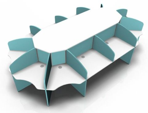 Centrix Twelve Person Call Centre Desk With White Tops And Light Blue Screens