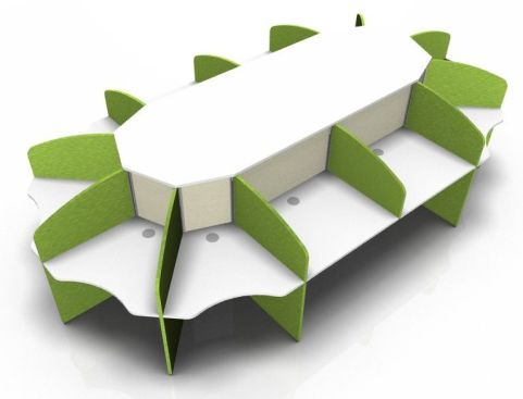 Centrix Twelve Person Call Centre Desk With White Tops And Green Screens