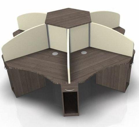 Centrix Five Person Call Centre Desk In Walnut With Beige Screens