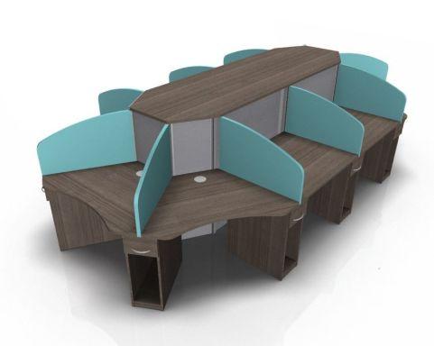 Centrix Ten Person Person Call Centre Desk Blue & Grey Screens And Walnut Tops