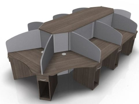 Corex Ten Person Call Centre Cluster Desk With Grey Screens And Walnut Tops