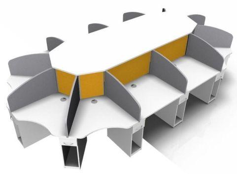 Centrix 12 Person Desk White, Orange And Grey