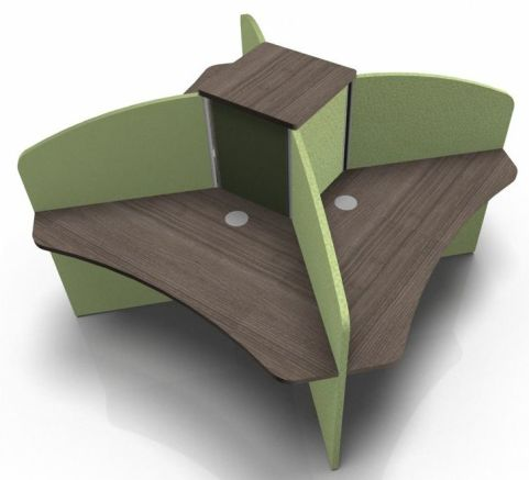 Centrix Four Person Call Centre Desk With Green Screens And Walnut Desk Tops