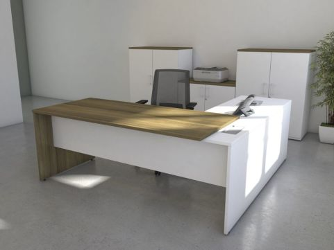 Avalon Two Tone Exercutive Desk And Return From Front With White Return And Modesty Panel