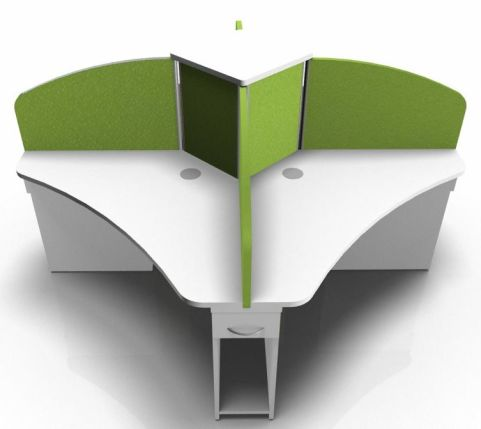 COREX FOUR PERSON CALL CENTRE CLUSTER WHITE LIME GREEN SCREENS