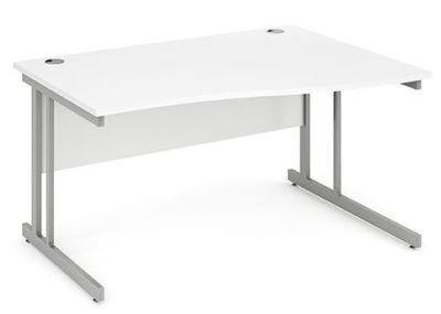 Solar Right Hand Wave Desk In White