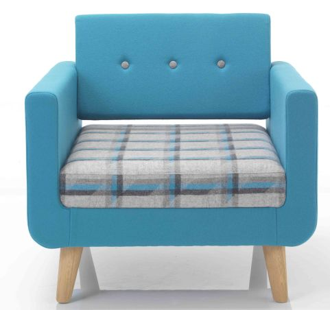 Liberty Single Single Seater Sofa Front Face With Wooden Legs