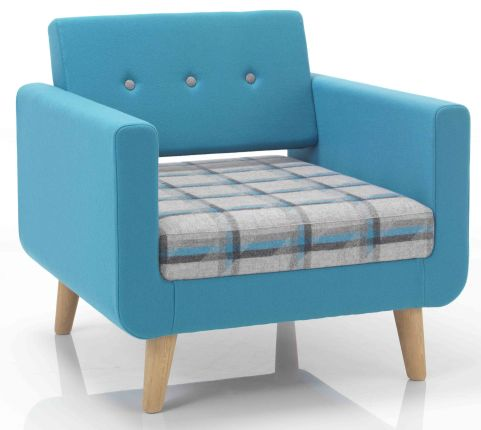 Liberty Single Seater Sofa With Wooden Legs Front Angle