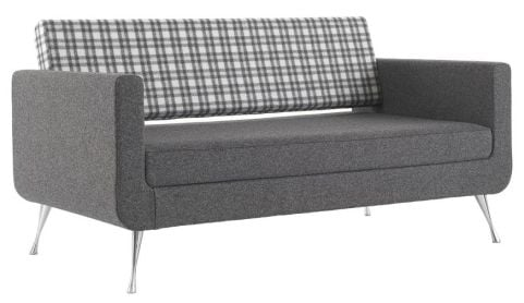 Pulse Two Szeater Sofa With Chrome Legs Front Angle