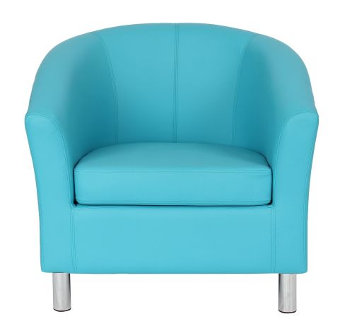 Zoron Light Blue Leather Tub Chairs Front View