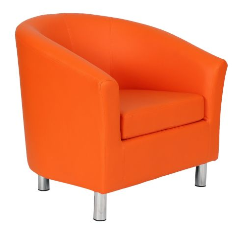 Zoron Orange Leather Tub Chair With Chrome Feet Front Angle View
